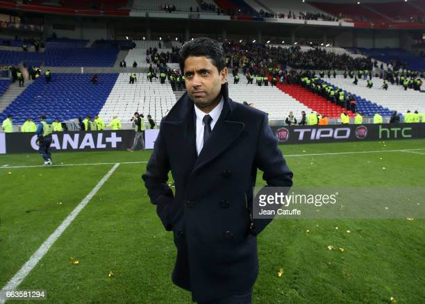 President of PSG Nasser AlKhelaifi stands on the pitch to thank the parisian supporters following the French League Cup final between Paris...