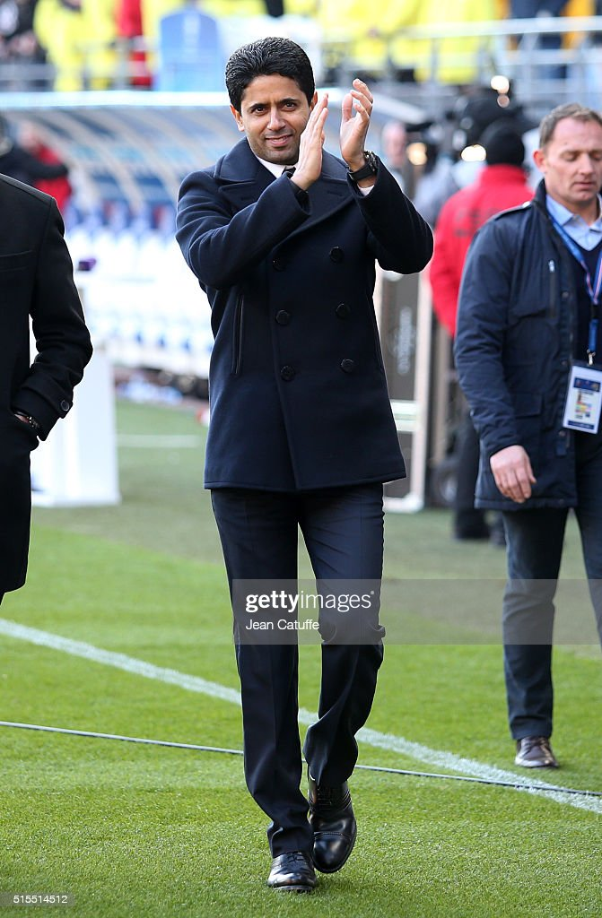 President of PSG Nasser Al-Khelaifi thanks the supporters after winning the French Ligue 1 championships 2015-1016 following the French Ligue 1 match between ESTAC Troyes and Paris Saint-Germain (PSG) at Stade de l'Aube on March 13, 2016 in Troyes, France.