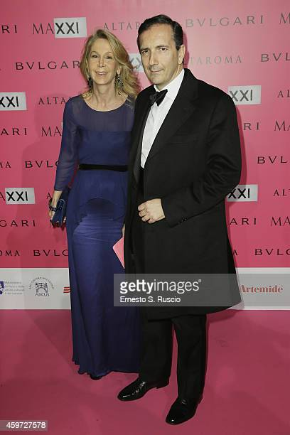 President of RAI Luigi Gubitosi and his wife attend the MAXXI Gala Dinner photocall at Maxxi Museum on November 29 2014 in Rome Italy