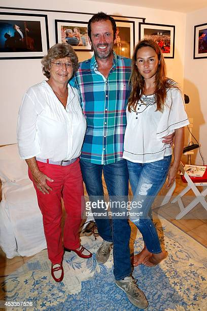 President of Ramatuelle Festival Jacqueline Franjou actors Christian Vadim and Vanessa Demouy pose backstage after the 'L'appel de Londres' play at...