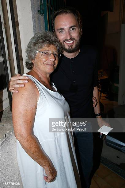 President of Ramatuelle Festival Jacqueline Franjou and singer Christophe Willem pose Backstage after the Christophe Willem Show during the 31th...