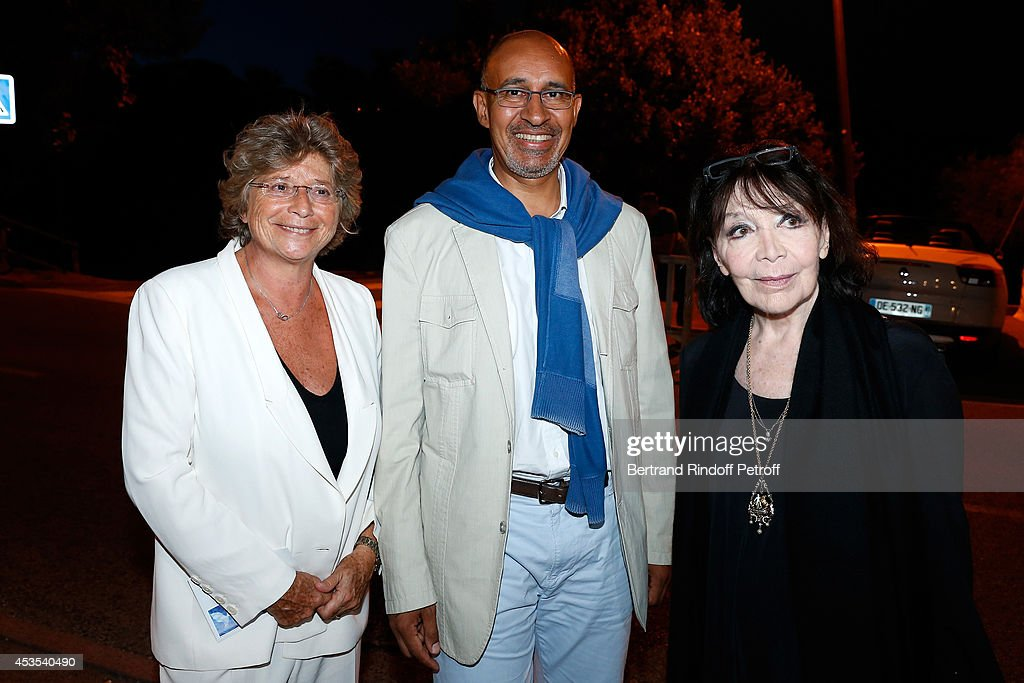 President of Ramatuelle Festival Jacqueline Franjou, Secretary of State for European Affairs Harlem Desir and singer <a gi-track='captionPersonalityLinkClicked' href=/galleries/search?phrase=Juliette+Greco&family=editorial&specificpeople=210869 ng-click='$event.stopPropagation()'>Juliette Greco</a> attend the Michel Boujenah's show 'Ma vie revee' for the last evening of the 30th Ramatuelle Festival : Day 12 on August 12, 2014 in Ramatuelle, France.