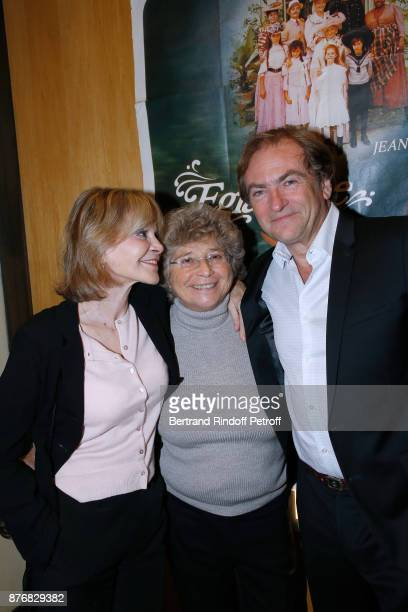 President of Ramatuelle Festival Jacqueline Franjou standing between Didier Van Cauwelaert and his wife Francoise Dorner attend the Tribute to...
