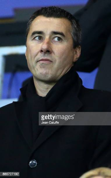 President of RC Strasbourg Marc Keller during the French Ligue 1 match between RC Strasbourg Alsace and Paris Saint Germain at Stade de la Meinau on...
