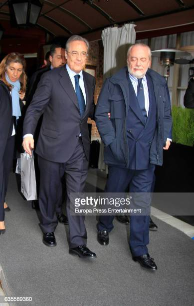 President of Real Madrid Florentino Perez and president of Napoli Aurelio de Laurentiis leave Zalacain restaurant after lunch on February 15 2017 in...