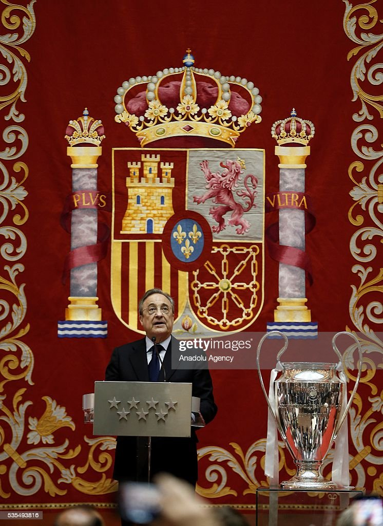 President of Real Madrid Florentino Perez delivers a speech during their visit to President of the Community of Madrid Cristina Cifuentes after Real Madrid won the UEFA Champions League Final match against Club Atletico de Madrid, at Madrid City Hall in Madrid, Spain on May 29, 2016.