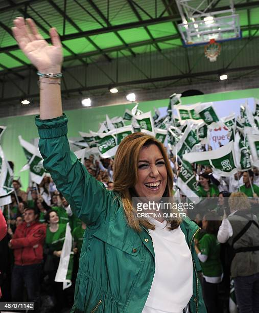 President of regional government of Andalusia and Spanis Socialist Party candidate Susana Diaz waves during the party's closing campaign meeting in...