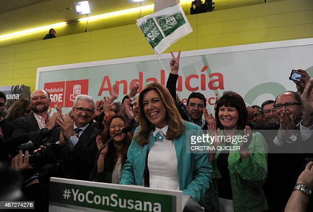 President of regional government of Andalusia and Spanish Socialist Party candidate Susana Diaz celebrates winning after the closing of polls in...