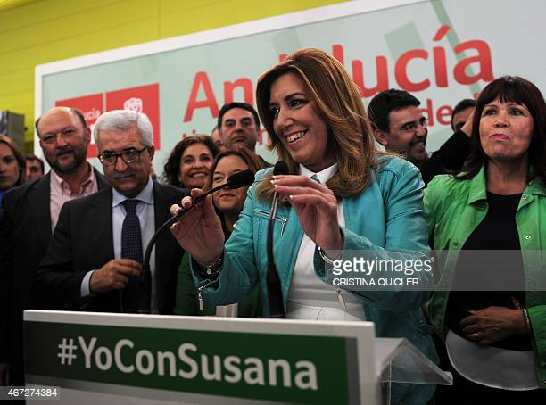 President of regional government of Andalusia and Spanish Socialist Party candidate Susana Diaz speaks after the closing of polls in Sevilla on March...