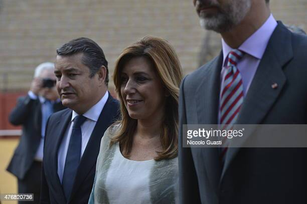 President of regional government of Andalusia Susana Diaz entering the Real Maestranza of Seville before the delivers of The Royal Cavalry Armory...