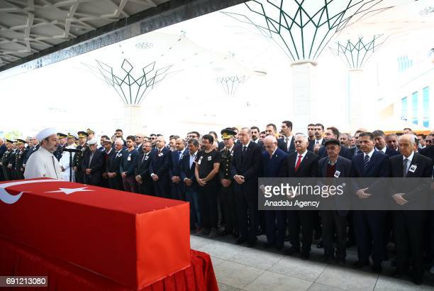 President of Religious Affairs of Turkey Mehmet Gormez leads the funeral prayer with the attendance of President of Turkey Recep Tayyip Erdogan Chief...