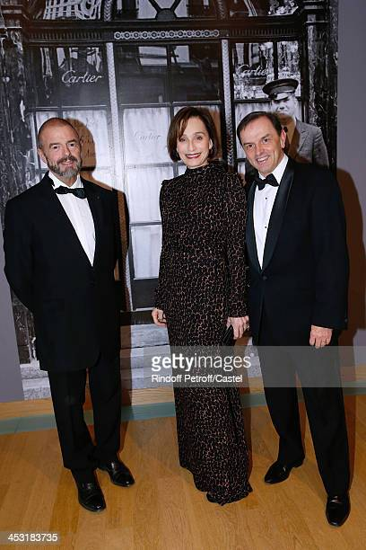President of Reunion des Musees Nationaux JeanPaul Cluzel actress Kristin Scott Thomas and President of Cartier Stanislas de Quercize attend the...