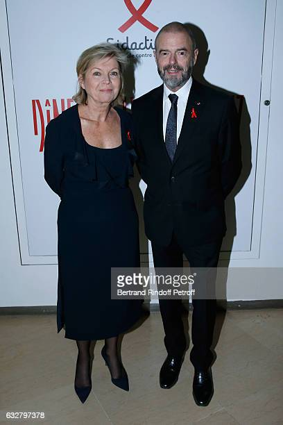 President of Reunion des Musees Nationaux Sylvie Aubac and JeanPaul Cluzel attend the Sidaction Gala Dinner 2017 Haute Couture Spring Summer 2017...
