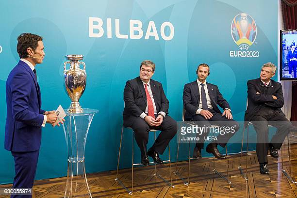 President of RFEF Angel Maria Villar delivers a speech during UEFA Euro Bilbao 2020 Official Logo Unveiling on December 15 2016 in Bilbao Spain