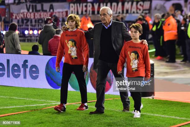 President of River Plate Rodolfo D'Onofrio walks onto the field prior Fernando Cavenaghi's farewell match at Monumental Stadium on July 01 2017 in...