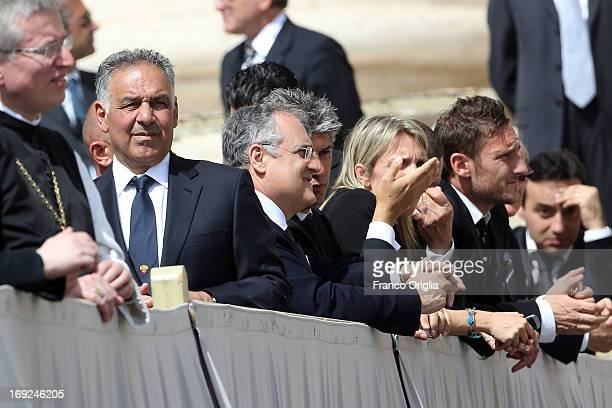 President of Roma James Pallotta Lazio president Claudio Lotito and Italian football player Francesco Totti attend the weekly audience held by Pope...