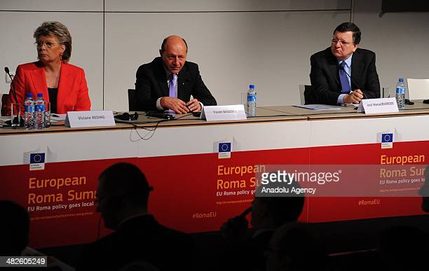 President of Romania Traian Basescu and European Commissioner responsible for justice Viviane Reding and President of European Commission Jose Manuel...