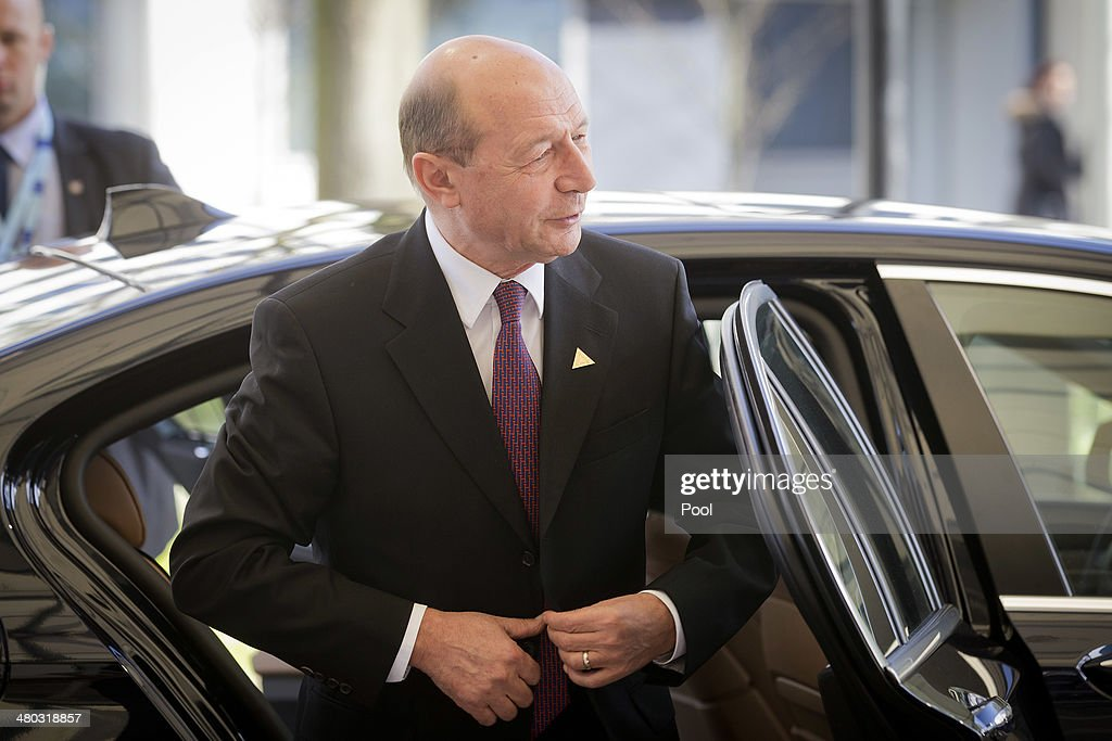 President of Romania <a gi-track='captionPersonalityLinkClicked' href=/galleries/search?phrase=Traian+Basescu&family=editorial&specificpeople=542324 ng-click='$event.stopPropagation()'>Traian Basescu</a> arrives at the 2014 Nuclear Security Summit on March 24, 2014 in The Hague, Netherlands. The Nuclear Security Summit, held March 24-25, will be attended by world leaders and is aimed at preventing nuclear terrorism.