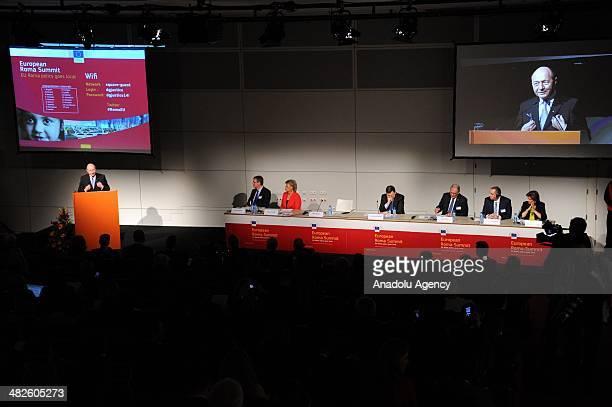 President of Romania Traian Basescu speaks during European Roma Summit in Brussels Belgium on April 4 2014 European Roma Summit is held for provide...