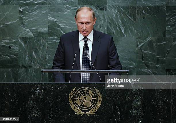 President of Russia Vladimir Putin addresses the United Nations General Assembly on September 28 2015 in New York City World leaders gathered for the...