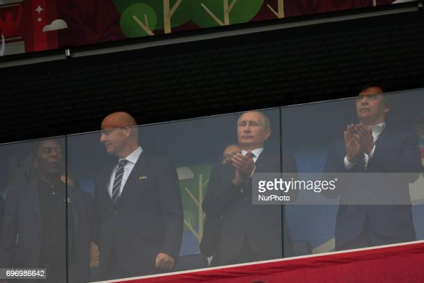 President of Russia Vladimir Putin and President of FIFA Gianni Infantino during the 2017 FIFA Confederations Cup match first stage Group A between...