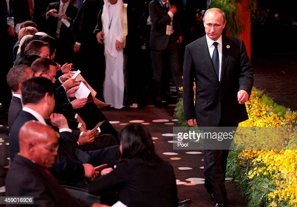 President of Russia Vladimir Putin arrives for the Welcome to Country ceremony by Aboriginal and Torres Strait Island people at the G20 summit on...