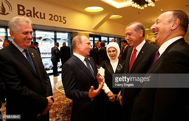 President of Russia Vladimir Putin President of Turkey Recep Erdogan and President of Azerbaijan Ilham Aliyev arrive prior to the Opening Ceremony...