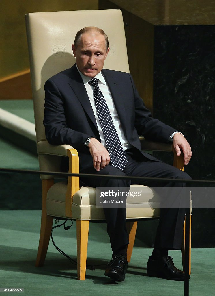 President of Russia Vladimir Putin sits after addressing the United Nations General Assembly on September 28, 2015 in New York City. World leaders gathered for the 70th session of the annual meeting.
