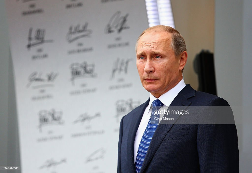 President of Russia, <a gi-track='captionPersonalityLinkClicked' href=/galleries/search?phrase=Vladimir+Putin&family=editorial&specificpeople=154896 ng-click='$event.stopPropagation()'>Vladimir Putin</a> stands on the podium after the Formula One Grand Prix of Russia at Sochi Autodrom on October 11, 2015 in Sochi, Russia.