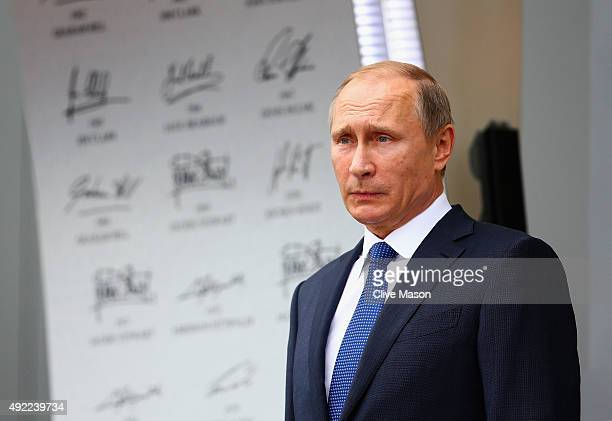 President of Russia Vladimir Putin stands on the podium after the Formula One Grand Prix of Russia at Sochi Autodrom on October 11 2015 in Sochi...
