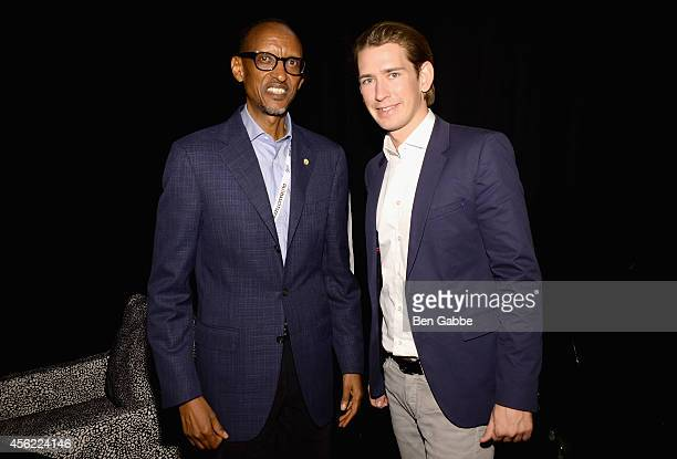 President of Rwanda Paul Kagame and Austrian Minister for Foreign Affairs Sebastian Kurz attends the 2014 Global Citizen Festival to end extreme...
