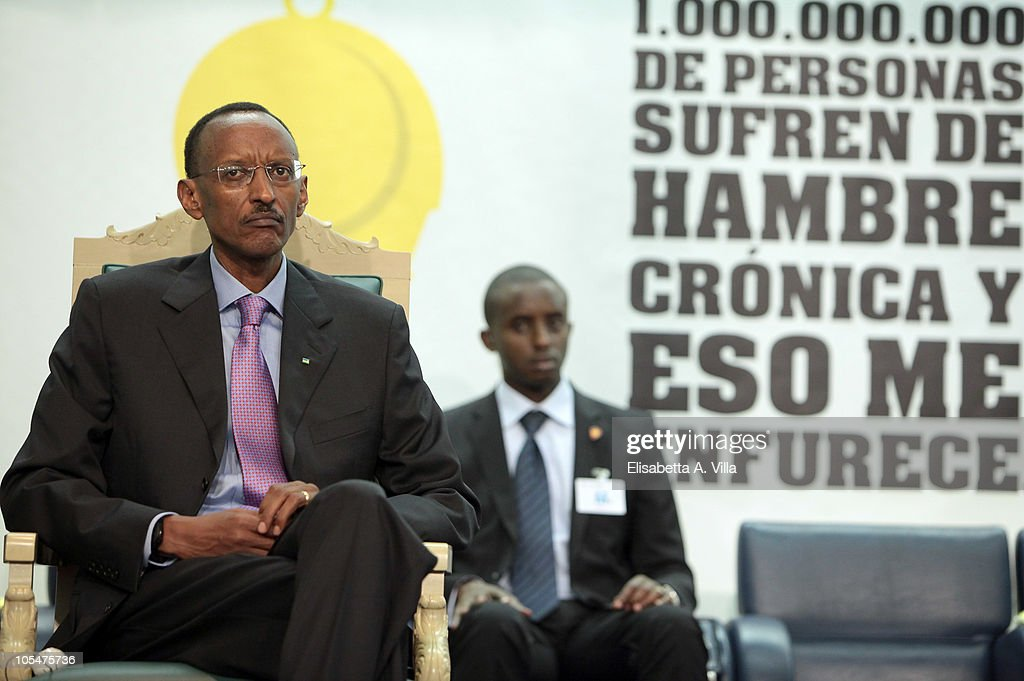 President of Rwanda <a gi-track='captionPersonalityLinkClicked' href=/galleries/search?phrase=Paul+Kagame&family=editorial&specificpeople=601832 ng-click='$event.stopPropagation()'>Paul Kagame</a> attends the World Food Day 2010 Cerimony at FAO headquarter on October 15, 2010 in Rome, Italy.The theme of this year�s observance is United against hunger, chosen to recognize the efforts made in the fight against world hunger.