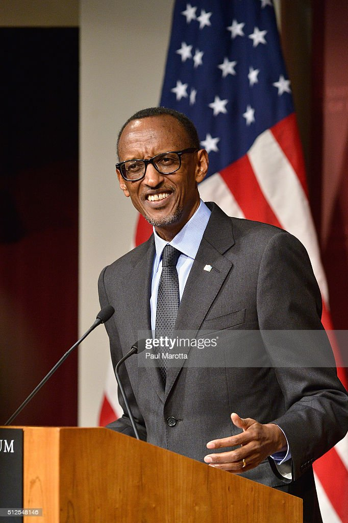 President of Rwanda since 2000 and allowed to serve until 2034 after the Rwandan constitution was ammended in 2015, President <a gi-track='captionPersonalityLinkClicked' href=/galleries/search?phrase=Paul+Kagame&family=editorial&specificpeople=601832 ng-click='$event.stopPropagation()'>Paul Kagame</a> speaks at the Harvard University John F. Kennedy School of Government Institute of Politics John F. Kennedy, Jr. Forum while small groups of both protestors and supporters march outside, on February 26, 2016 in Cambridge, Massachusetts.
