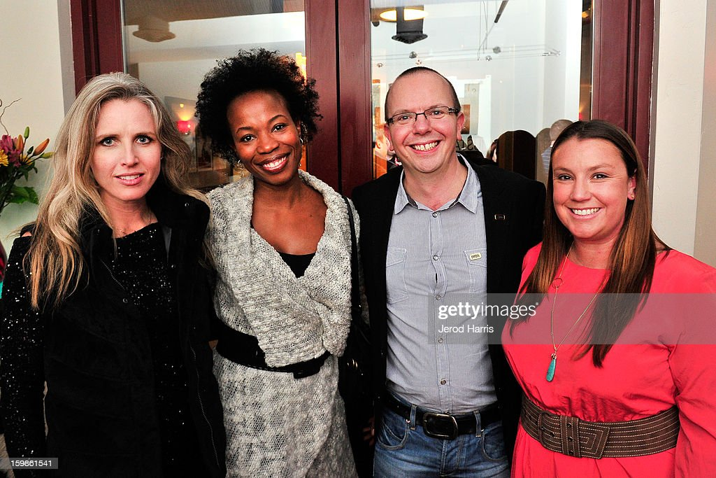 President of Sales and Distribution for Voltage Pictures Elisabeth Costa de Beauregard Rose, VP of brand marketing at Paramount Syrinthia Studer, IMDb founder Col Needham and Amazon Media Group's head of entertainment sales Jeremi Gorman attend the IMDb Sundance dinner party at The Mustang on January 21, 2013 in Park City, Utah.
