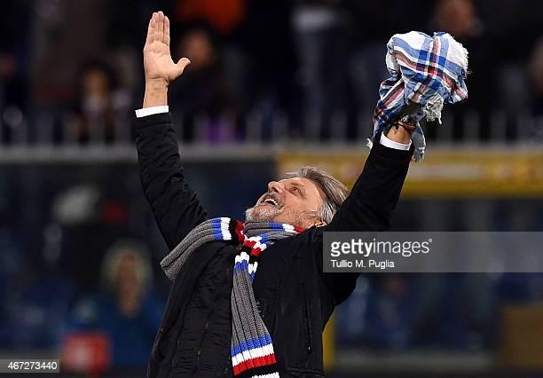 President of Sampdoria Massimo Ferrero celebrates after winning the Serie A match between UC Sampdoria and FC Internazionale Milano at Stadio Luigi...