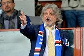 President of Sampdoria Massimo Ferrero gestures ahead of the Serie A match between UC Sampdoria and AC Cesena at Stadio Luigi Ferraris on April 18...