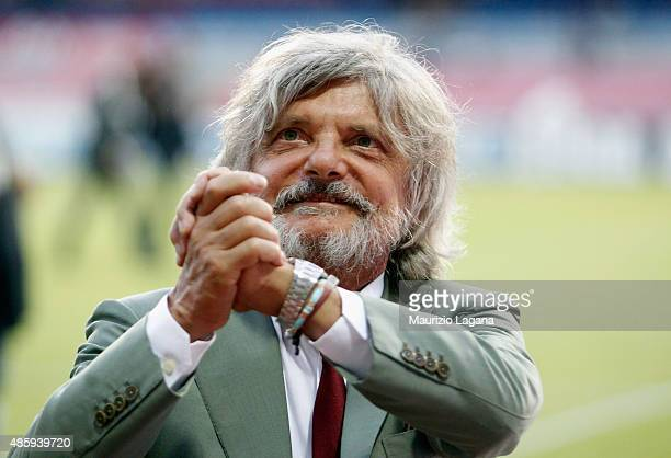 President of Sampdoria Massimo Ferrero the Serie A match between SSC Napoli and UC Sampdoria at Stadio San Paolo on August 30 2015 in Naples Italy
