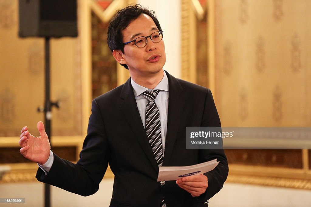 President of Samsung Austria Seong Cho talks at the press conference at Vienna State Opera on May 5, 2014 in Vienna, Austria.
