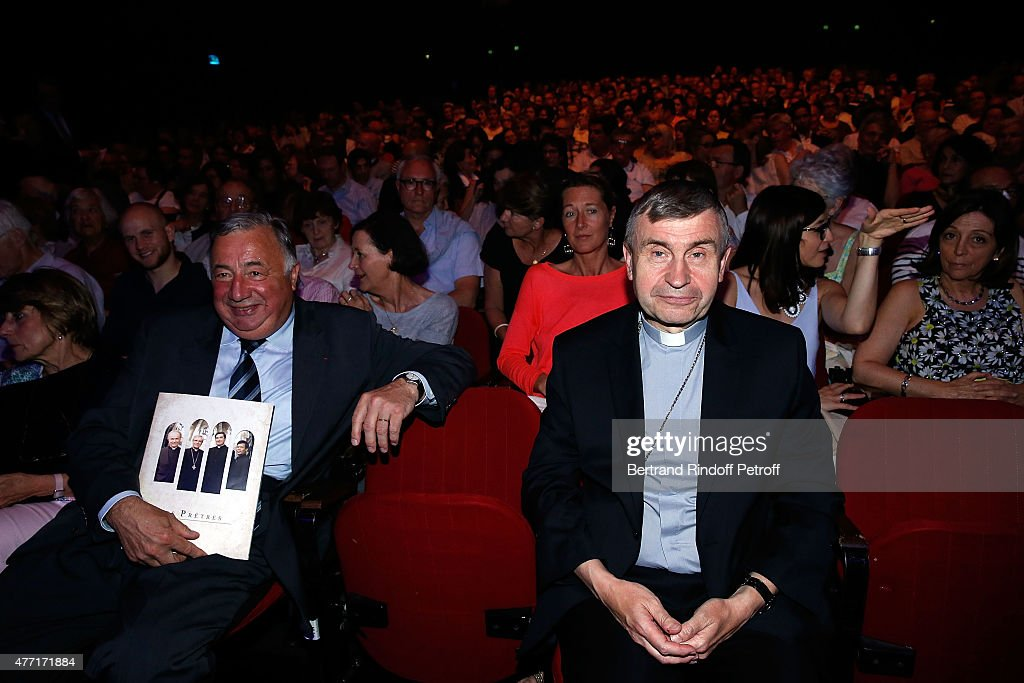 President of Senat Gerard Larcher and Monseigneur Pascal Delannoy Eveque of Saint Denis attend the Farewell Concert of 'les Pretres' at L'Olympia on June 14, 2015 in Paris, France.