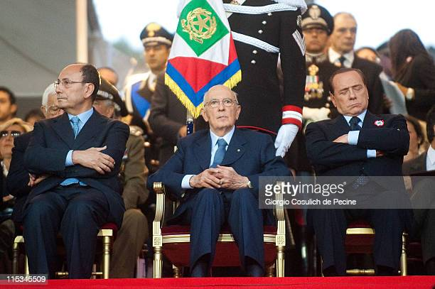 President of Senate Renato Schifani President of Italian Republic Giorgio Napolitano and Prime Minister Silvio Berlusconi attend the military parade...