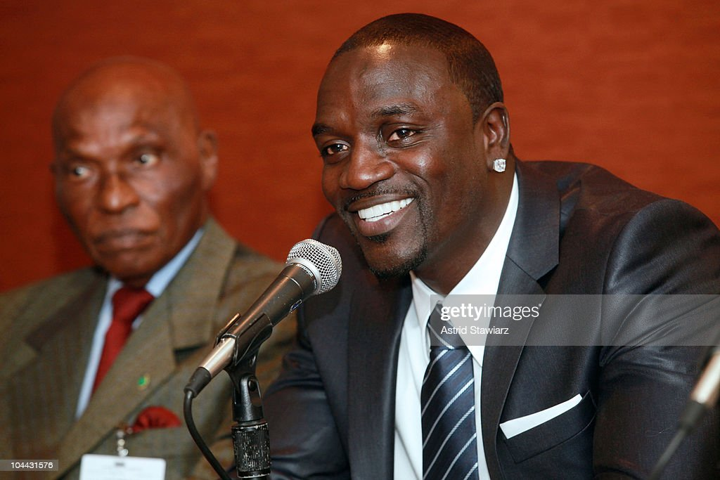 President of Senegal <a gi-track='captionPersonalityLinkClicked' href=/galleries/search?phrase=Abdoulaye+Wade&family=editorial&specificpeople=209316 ng-click='$event.stopPropagation()'>Abdoulaye Wade</a> and rapper Akon attend the 2010 World Festival of Black Arts and Cultures NYC press conference at the Grand Hyatt on September 24, 2010 in New York City.