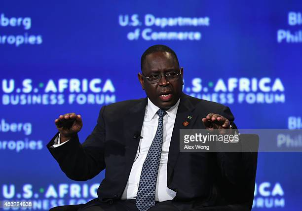 President of Senegal Macky Sall participates in a session of the USAfrica Business Forum titled 'Game Plan Shaping The Future Of A FastGrowing...
