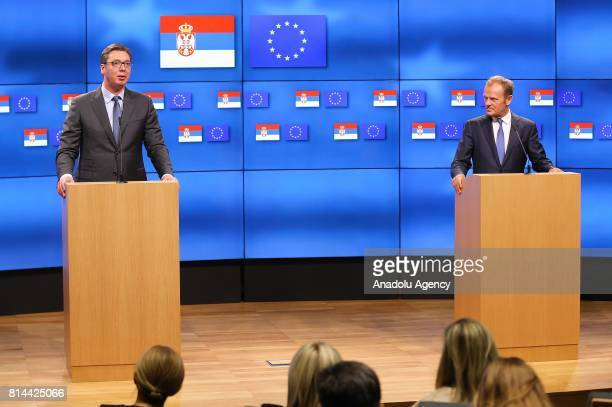 President of Serbia Aleksandar Vucic and European Council President Donald Tusk hold a joint press conference following their meeting in Brussels...