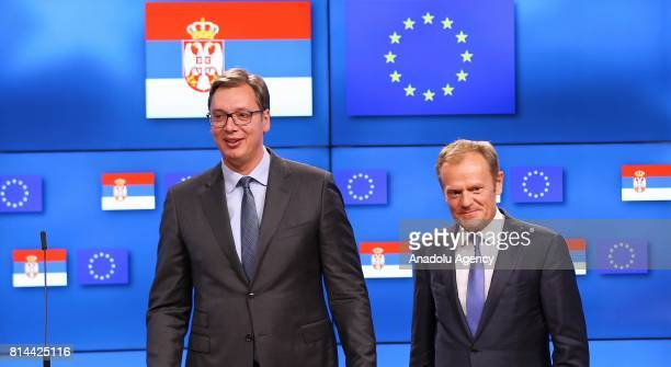 President of Serbia Aleksandar Vucic and European Council President Donald Tusk arrive to hold a joint press conference following their meeting in...