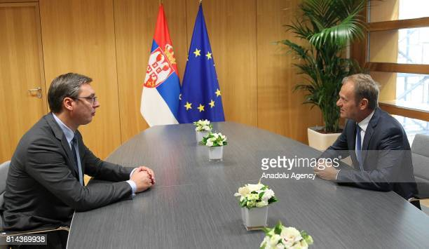 President of Serbia Aleksandar Vucic meets with European Council President Donald Tusk in Brussels Belgium on July 14 2017