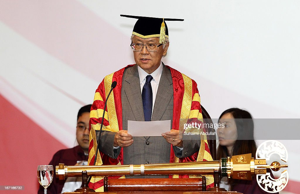 President of Singapore, Dr <a gi-track='captionPersonalityLinkClicked' href=/galleries/search?phrase=Tony+Tan+Keng+Yam&family=editorial&specificpeople=6629941 ng-click='$event.stopPropagation()'>Tony Tan Keng Yam</a> speaks on stage during the honorary doctorate conferment ceremony on April 22, 2013 in Singapore. It is reported that President Susilo Bambang Yudhoyono will hold a Leaders' Retreat with Singapore Prime Minister Lee Hsien Loong as part of the visit.