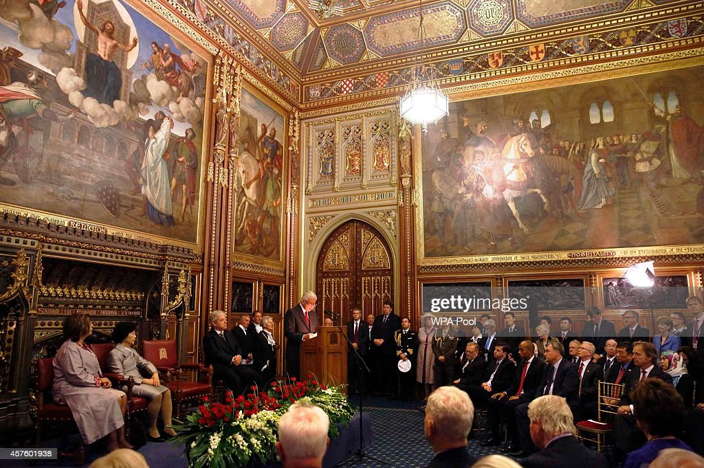 President of Singapore Tony Tan Keng Yam speaks to parliamentarians, and their guests in the Royal Robing Room at the Palace of Westminster on October 21, 2014 in London, England. The President is at the beginning of his four day stay during which he will hold a bilateral meeting with Prime Minister David Cameron.