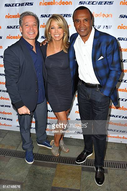 President of Skechers USA Michael Greenberg fitness guru Denise Austin and boxing legend Sugar Ray Leonard attend the 7th Annual SKECHERS Pier to...