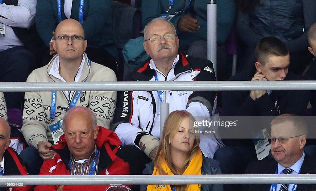 President of Slovakia <a gi-track='captionPersonalityLinkClicked' href=/galleries/search?phrase=Ivan+Gasparovic&family=editorial&specificpeople=555593 ng-click='$event.stopPropagation()'>Ivan Gasparovic</a> attends the Men's Ice Hockey Preliminary Round Group A game between Russia and USA on day eight of the Sochi 2014 Winter Olympics at Bolshoy Ice Dome on February 15, 2014 in Sochi, Russia.