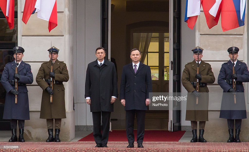 President of Slovenia Borut Pahor and President of Poland Andrzej Duda at Presidential Palace in Warsaw Poland 22 April 2016